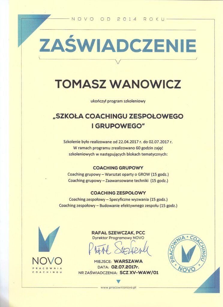Certyfikat Coachingu Grupowego iZespołowego