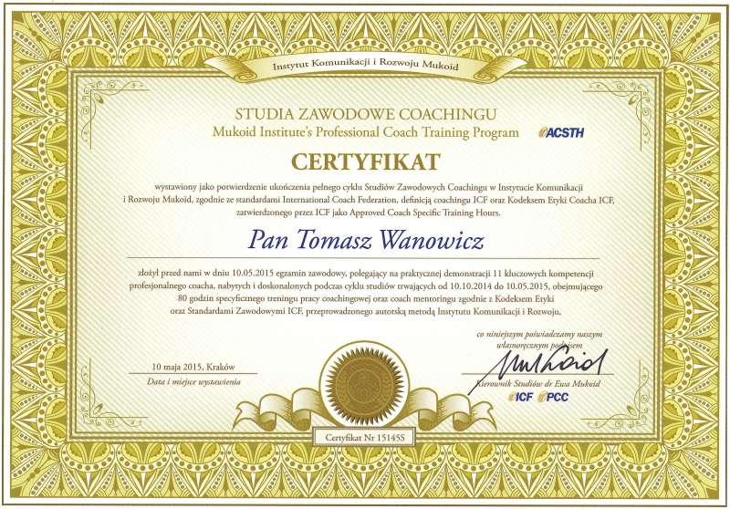 Certyfikat ICF ACSTH