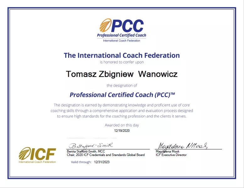 Certyfikat ICF PCC